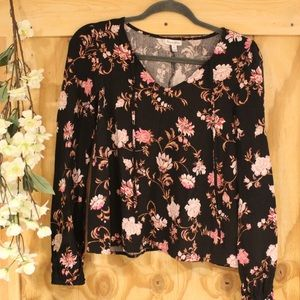 Like new tunic top—black with pink flowers